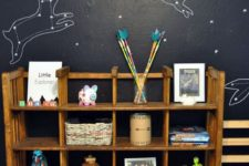 03 a black constellation wall with animals is a cute idea for a kids' room