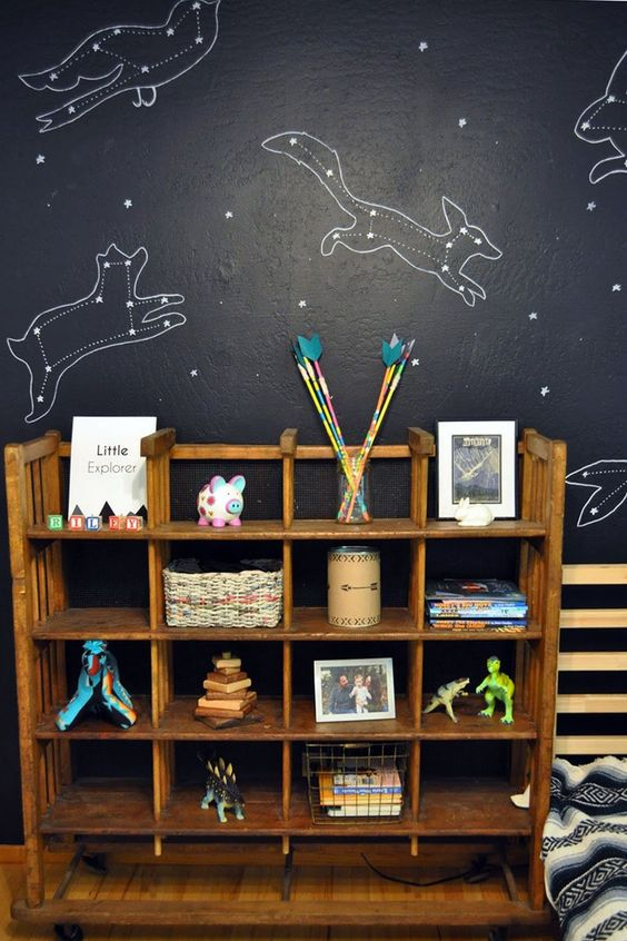 a black constellation wall with animals is a cute idea for a kids' room