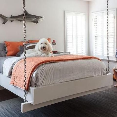 a chain hanging bed will be loved by your son