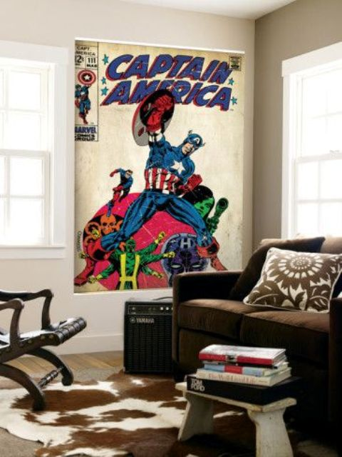 a retro Captain America poster is a trendy idea to give your space a character