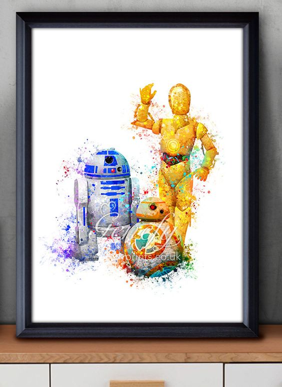 a watercolor Star Wars wall art in bold shades will add cheer to any space