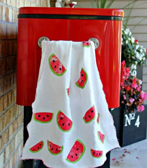 watermelon stamped tea towels for a summer kitchen