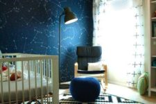 04 a boy's nursery constellation wall in navy and matching accessories