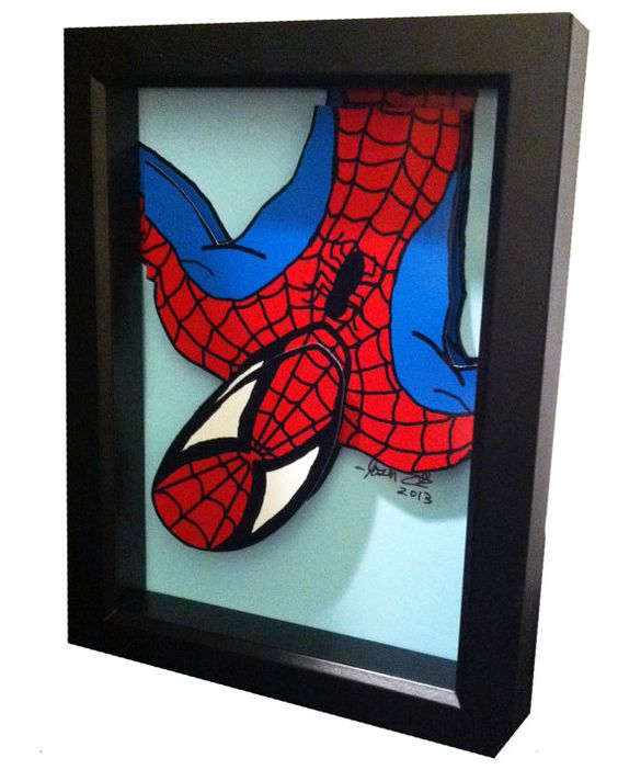 a framed 3D wall art inspired by spiderman comics