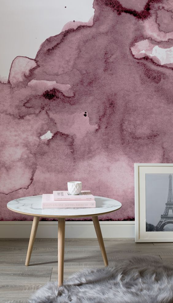 add a girlish feel to your space with dusty pink watercolor wallpaper