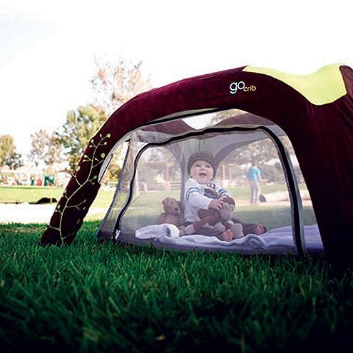 smart outdoor crib consists of a stable base and a tent bed inside it