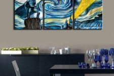 05 Starry night three-piece Batman canvas can spruce up any space
