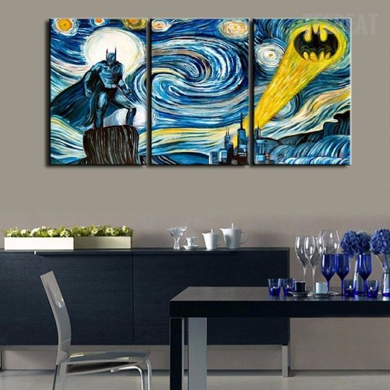 Starry night three-piece Batman canvas can spruce up any space