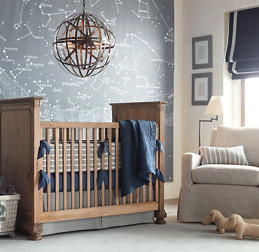 a constellation map wall is a great solution for a boy's nursery