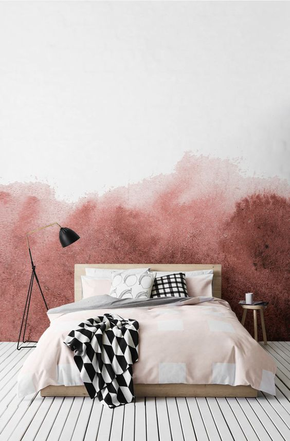 add passion to your bedroom with ombre watercolor wallpaper in pink and reddish hues