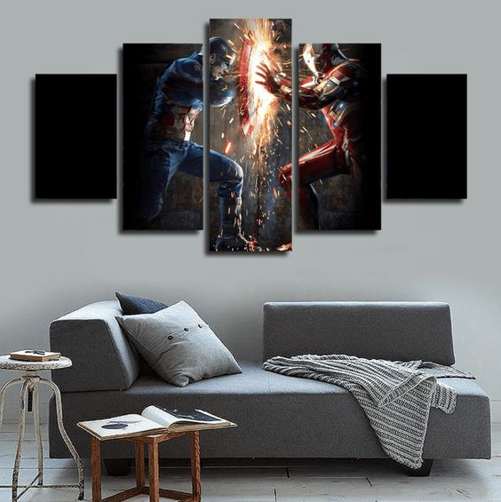 Captain America vs Iron Man wall canvas to make a bold statement
