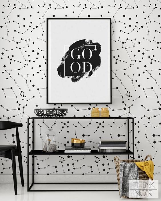 black and white removable constellation wallpaper