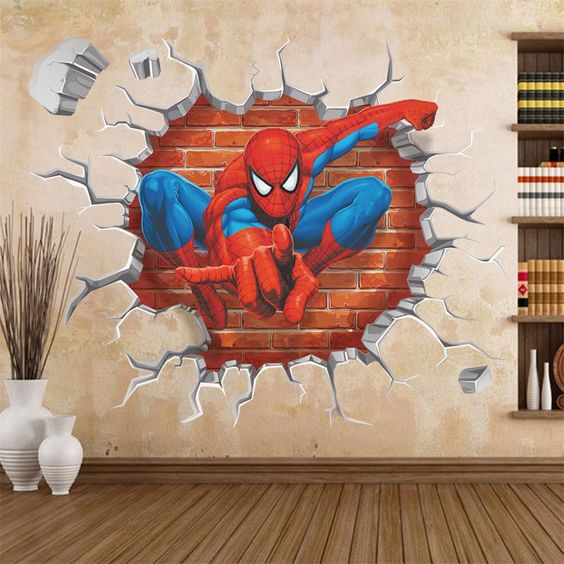 cool Spiderman wall decal for a kid's room can be removed anytime when you don't need it