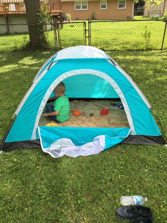 a tent sandbox is a great idea for older kids