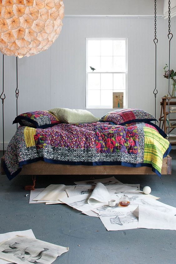 barnwood hanging bed for an eclectic space, gypsy-inspired textiles