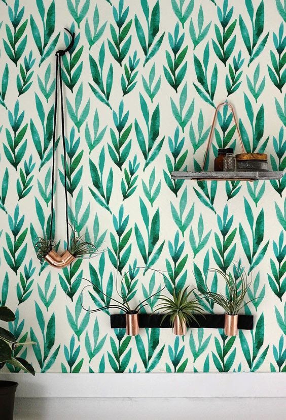 green watercolor leaf wallpaper will be perfect for a boho chic space