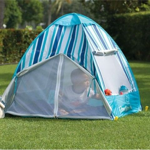 blue striped baby tent with windows to open or cover