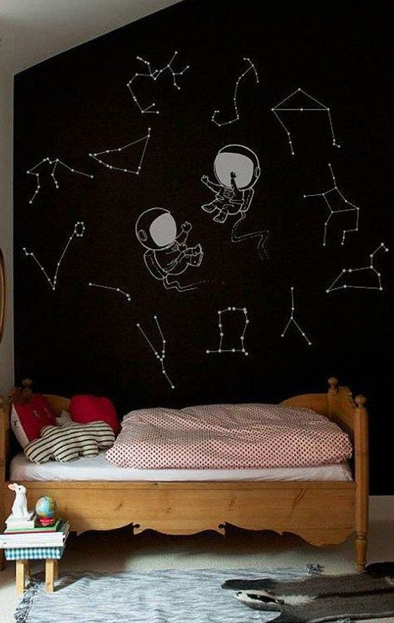 constellation and spacemen wall for a kids' room is a cute idea