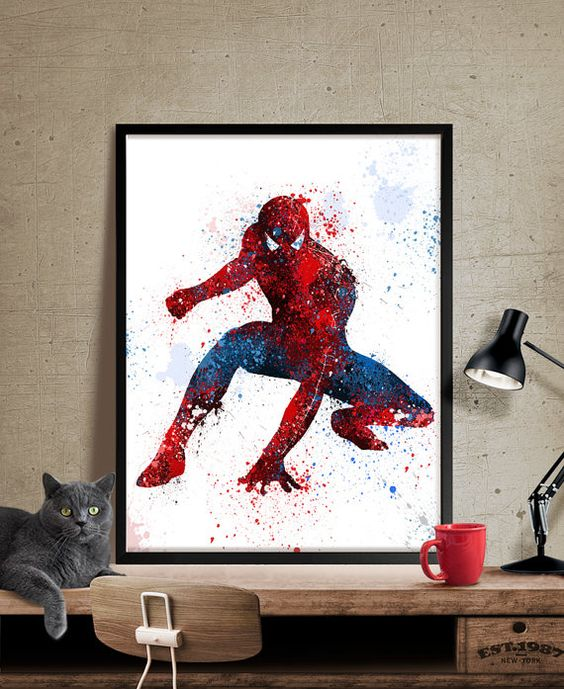 framed Spiderman watercolor art print stands out with its colors