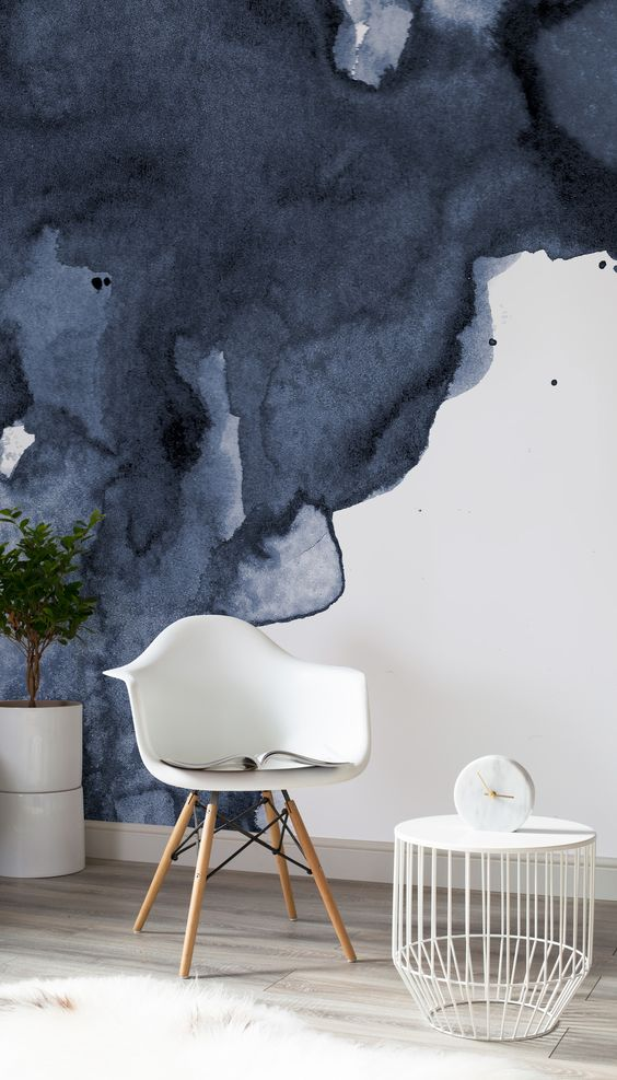 sumptuous navy watercolor wallpaper design will bring instant sophistication