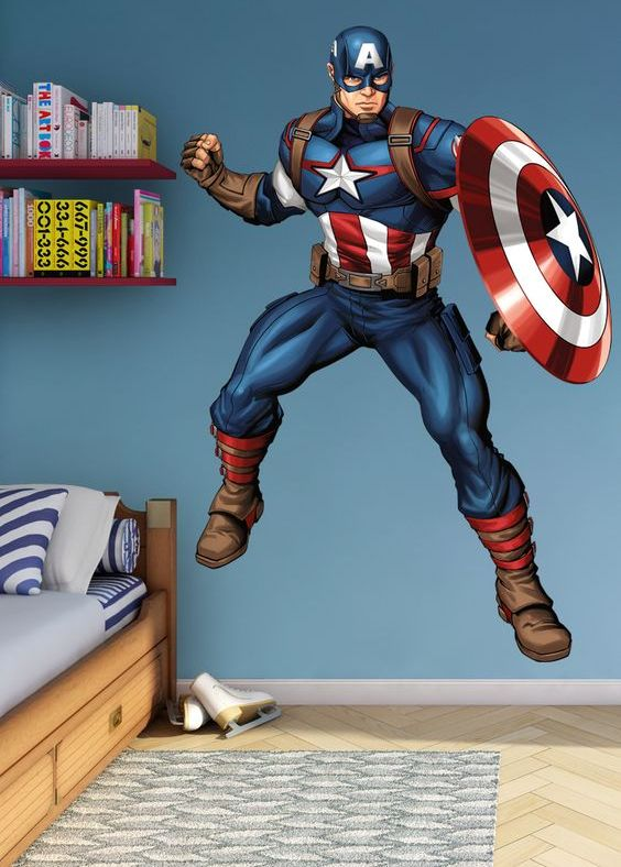 Captain America removable vinyl wall decal will be a great idea for a kid's room