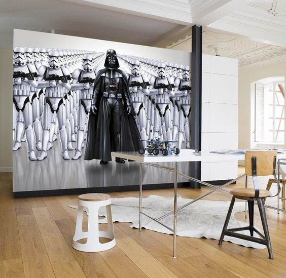 oversized Imperial Forces wall mural for a home office