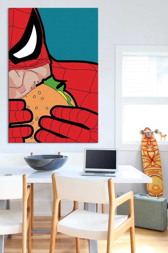 oversized pop-art Spiderman wall art for a modern space