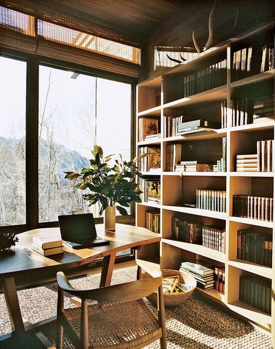 warm mid-century modern home office with forest views to relax