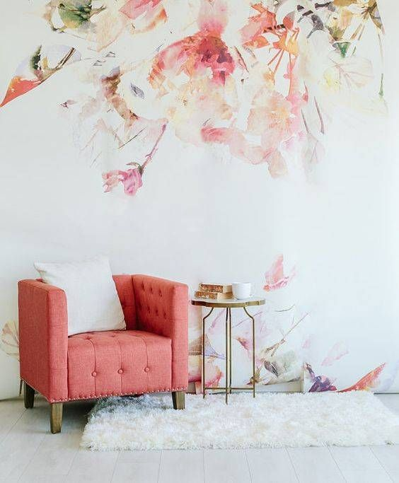 warm watercolor floral wallpaper is a great solution for a girlish space