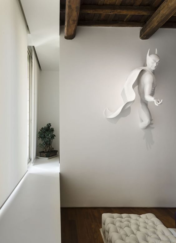 Batman wall sculpture in white is a new level of geeking