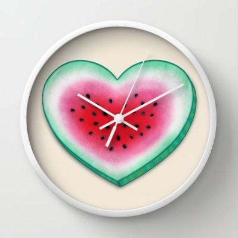 a watermelon heart clock is great for juicy summer decor