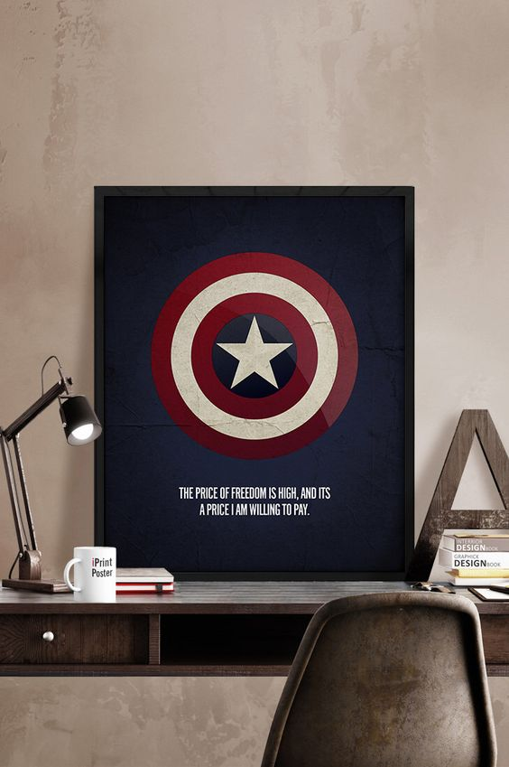 an industrial manly space is made more eye-catchy with a Captain America sign