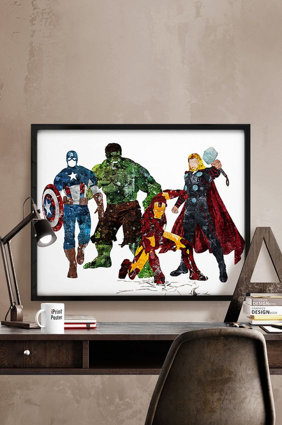 colorful Avengers watercolor wall art for a colorful statement