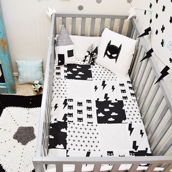 black and white Batman bedding for a boy's nursery