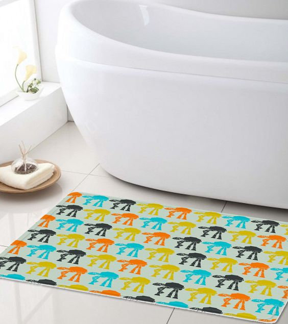 colorful Star Wars bathroom mat is a fun idea for everyone