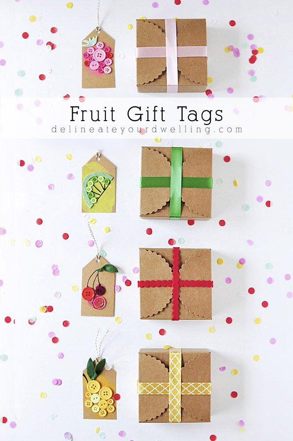 DIY fruity button gift tags (via www.delineateyourdwelling.com)