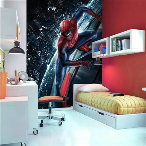 oversized Spiderman wall mural for a teenager's room