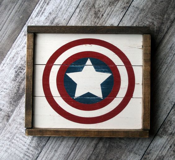this super cool rustic Captain America sign makes the perfect accent piece in your little ones room or playroom