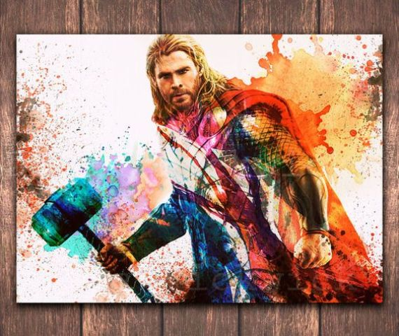 watercolor Thor poster in bold colors will be a cool idea for any space