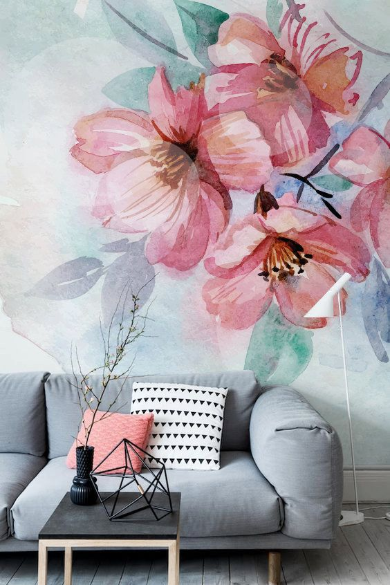 watercolor oversized floral wallpaper makes the living room bolder and more vibrant