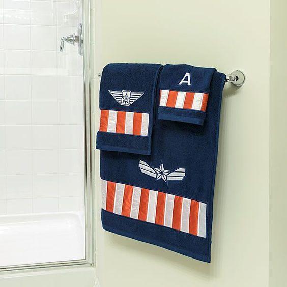 Captain America inspired towels for superhero bathroom decor