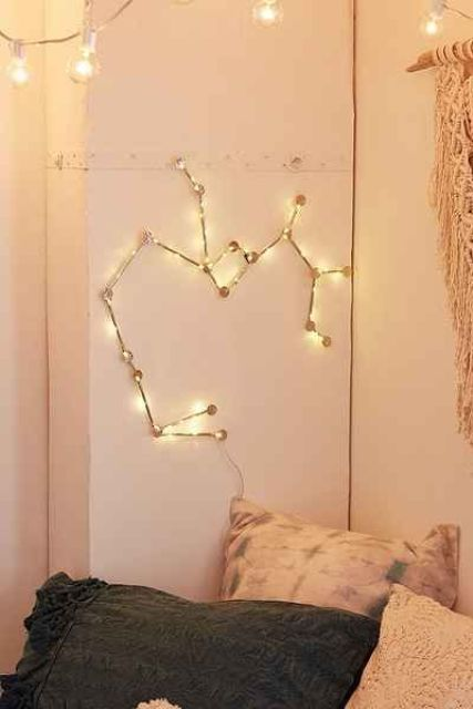 a constellation hanging light is a whimsy piece for any space