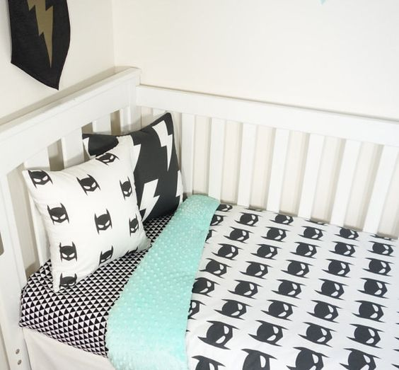 black, mint and white Batman kids' bedding is a gorgeous idea for a boy's room