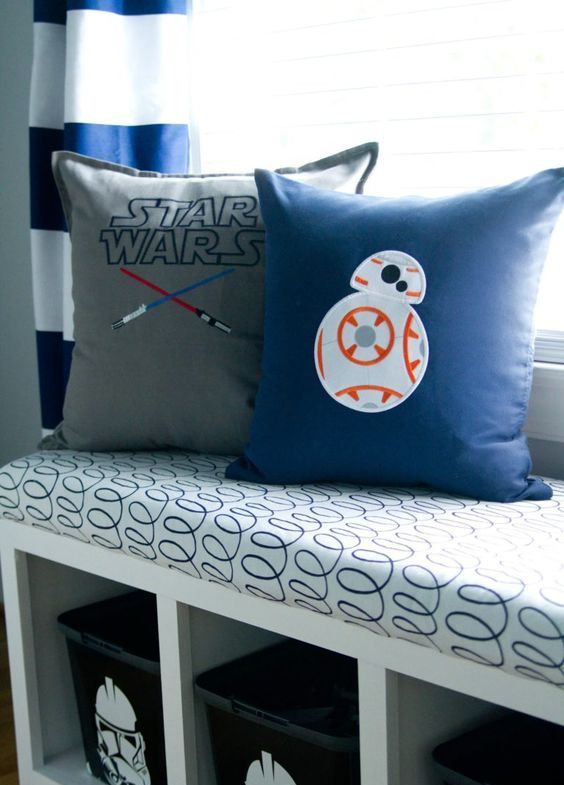 colorful pillows with Star Wars appliques