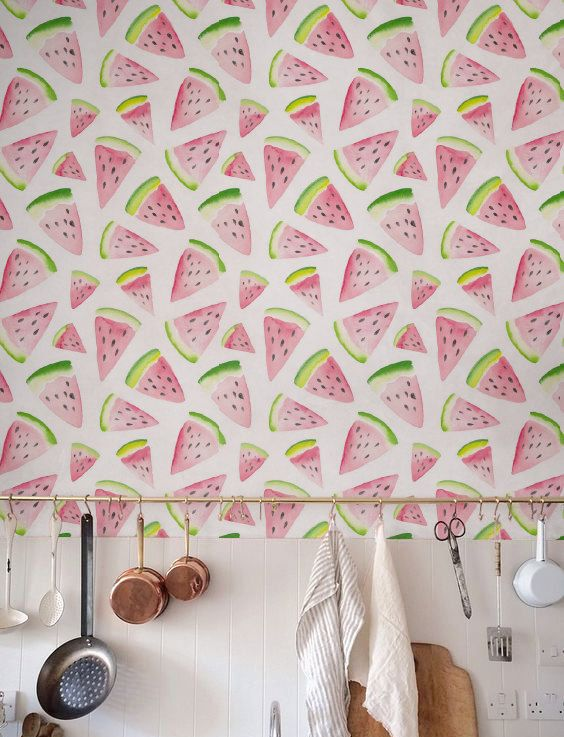 watercolor watermelon wallpaper will look amazing in your kitchen