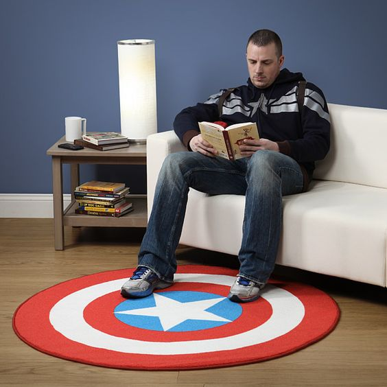 Captain America round rug will fit both an adult and a kid's space