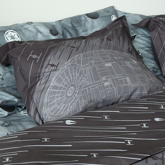 Death Star print bedding in grey and brown for a guy's space