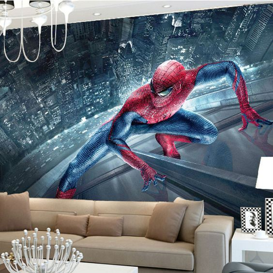 Spiderman 3D wallpaper mural will make a bold statement in any room