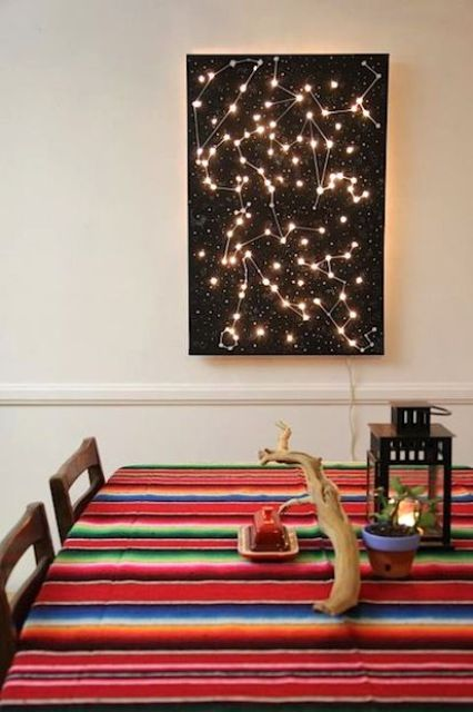 a black constellation artwork with lights makes the dining space eye-catchy