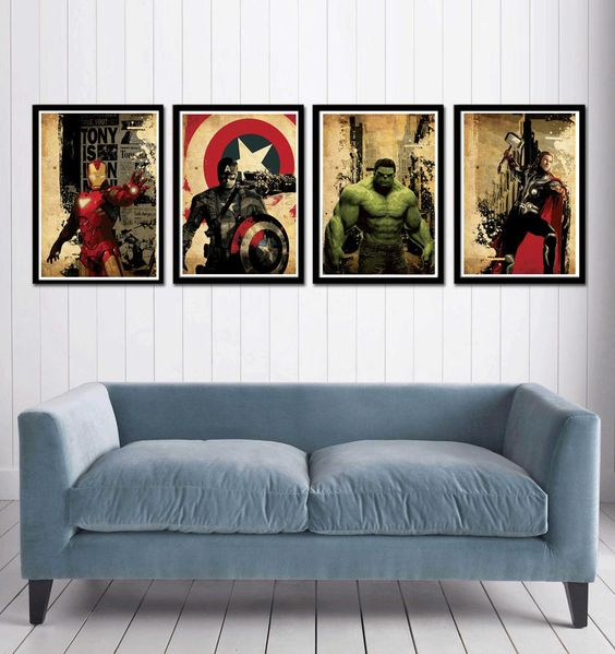 framed Avengers movie posters for a cool superhero touch in any room